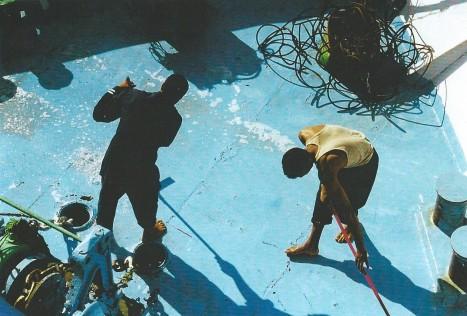 Sur le ponton, Egypte (novembre 1999)